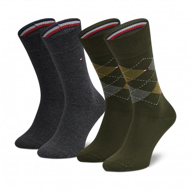 2 Pairs of Men's High Socks TOMMY HILFIGER - 100001495  Olive 019