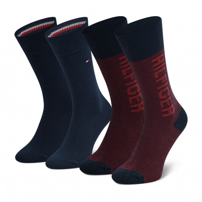 2 Pairs of Men's High Socks TOMMY HILFIGER - 701210535 Navy Red 002