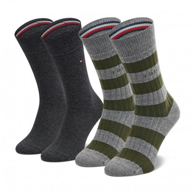2 Pairs of Men's High Socks TOMMY HILFIGER - 701210538 Olive 003