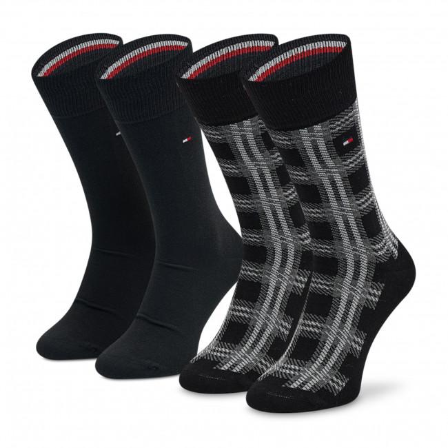 2 Pairs of Men's High Socks TOMMY HILFIGER - 701211050 Black 004