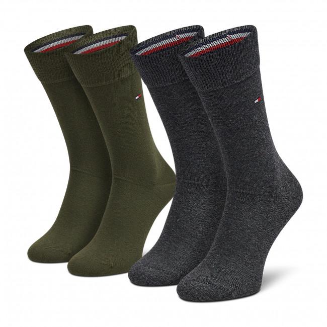 2 Pairs of Men's High Socks TOMMY HILFIGER - 371111 Olive 110
