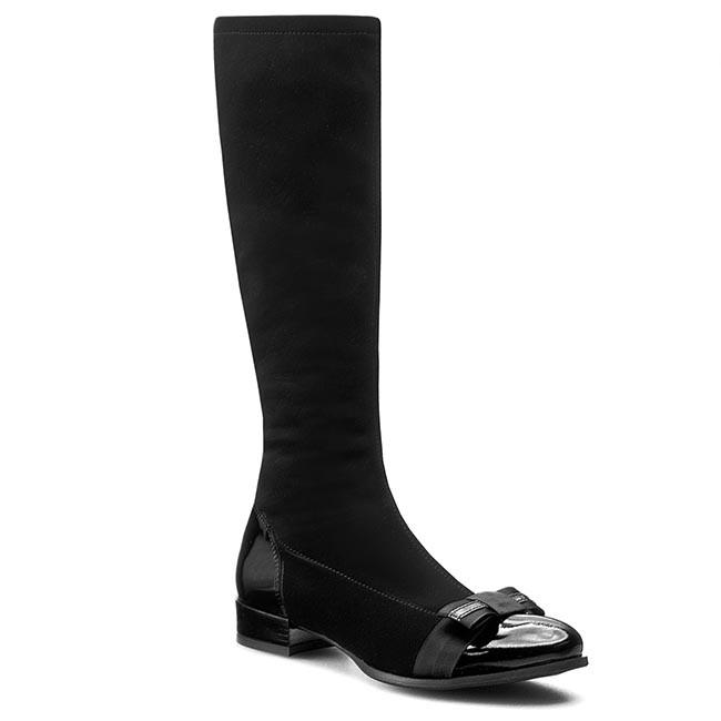 Knee High Boots SAGAN - 2597/1 Czarna Lycra/Czarny Lakier