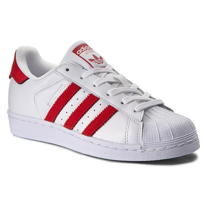 superstar sneaker low white red