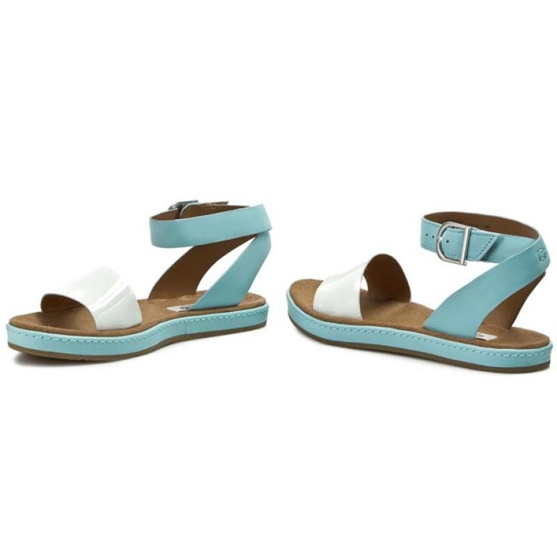 Women's Clarks Romantic Moon Light Blue Sandals (Black Leather)