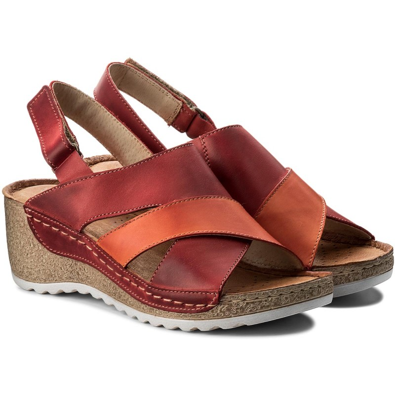 Sandalen WASAK - 0493 Orange Rot 1FXNnl