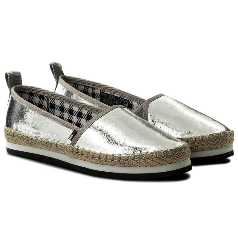 Tommy Jeans SPORTY METALLIC SLIP ON - Espadrilles - silver