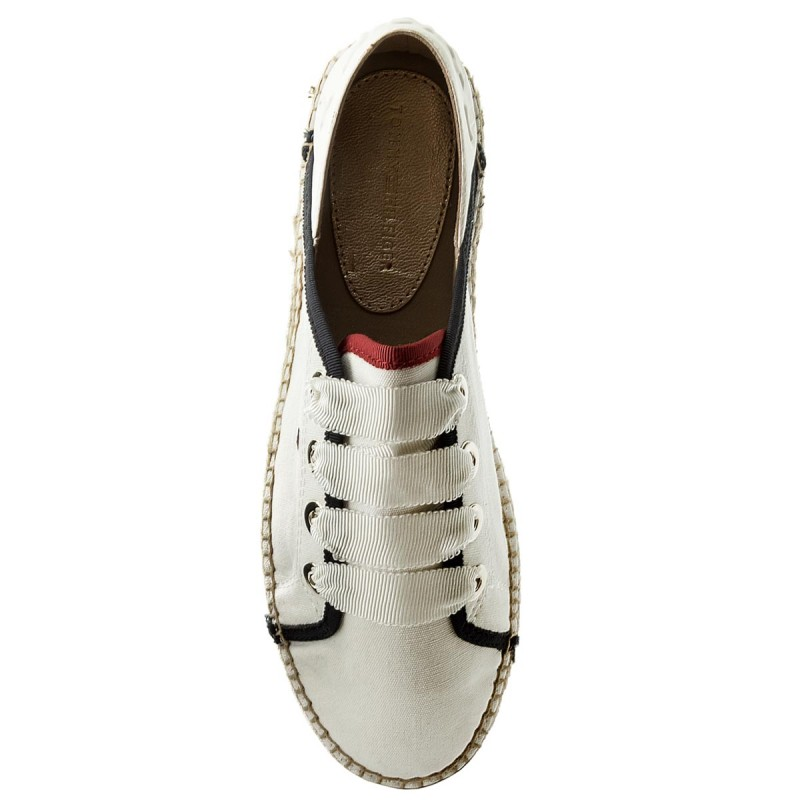 Espadrilles TOMMY HILFIGER - Th Metallic Lace Up Espadrille FW0FW02218 Whisper White 121 Cbeda