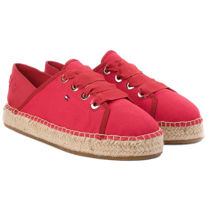 Espadrilles TOMMY HILFIGER - Th Metallic Lace Up Espadrille FW0FW02218 Tango Red 611 IrUqQ4S