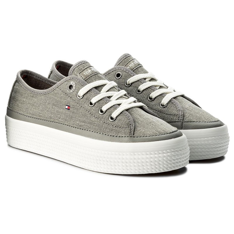 Sneakers TOMMY HILFIGER - Glitter Textile Flatform Sneaker FW0FW02457 Light Grey 004 Z0b89Me