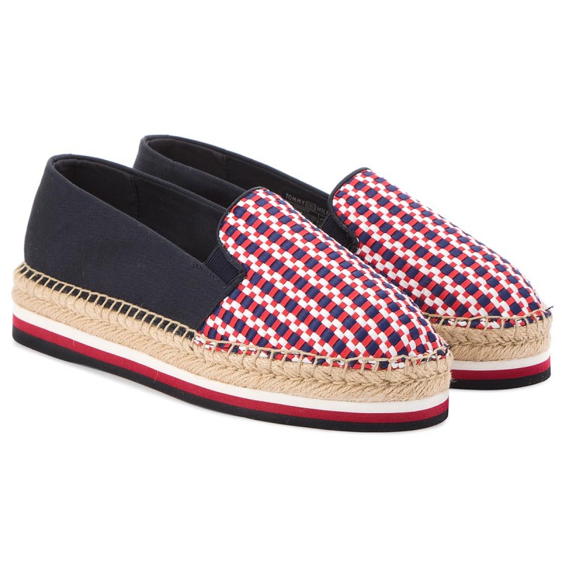Womens Corporate Interwoven Flatform Espadrilles Tommy Hilfiger