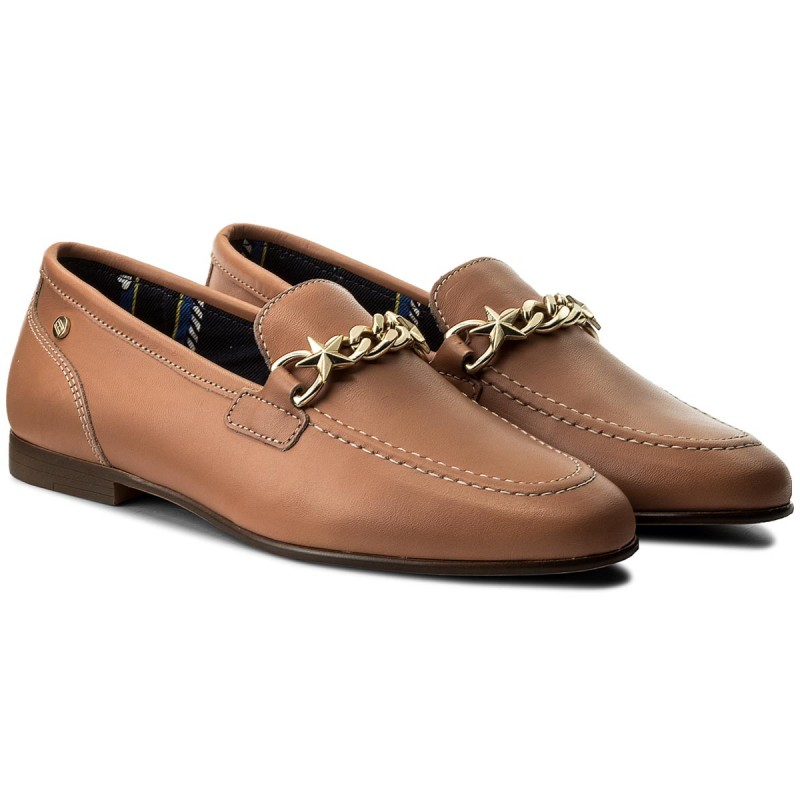 Lords Schuhe TOMMY HILFIGER - Feminine Loafer Chain FW0FW02844 Silky Nude 297 IFiDtcP