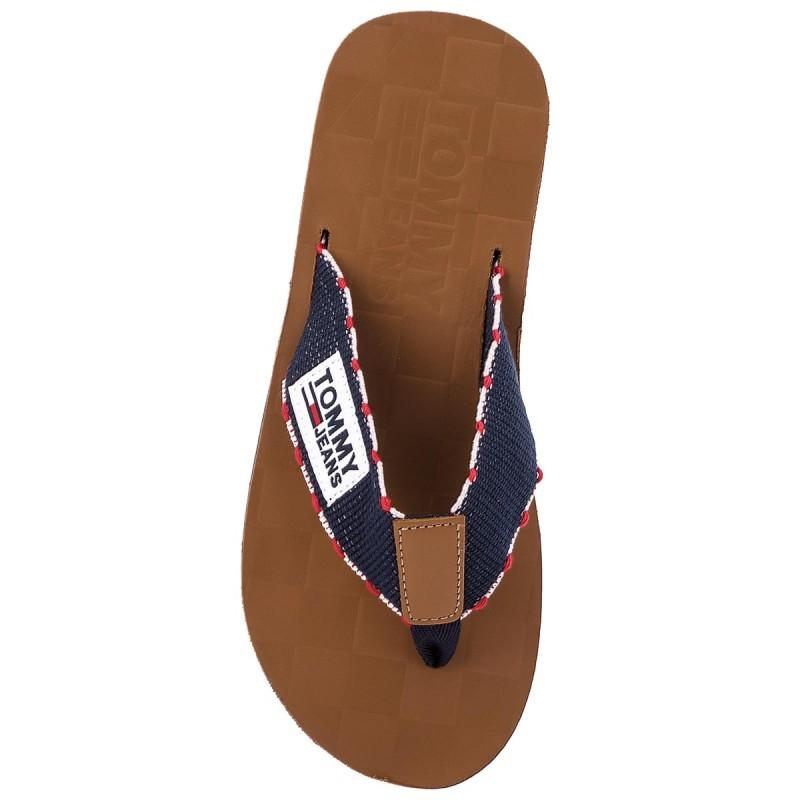 Mens Tj Leather Footbed Beach Sandal Flip Flops, Midnight Blue Tommy Jeans