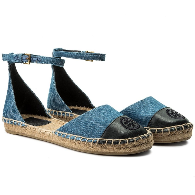 Espadrilles TORY BURCH - Color Block Ankle-Strap Espadrille 46769 Denim Chambray/Perfect Navy 435