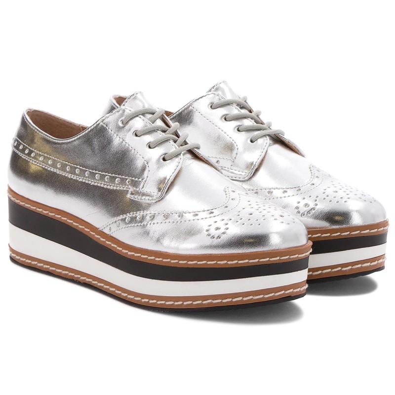 Oxfords STEVE MADDEN - Greco Platform Lace-up 91001099-07004-14001 Silver EsTNhk5br