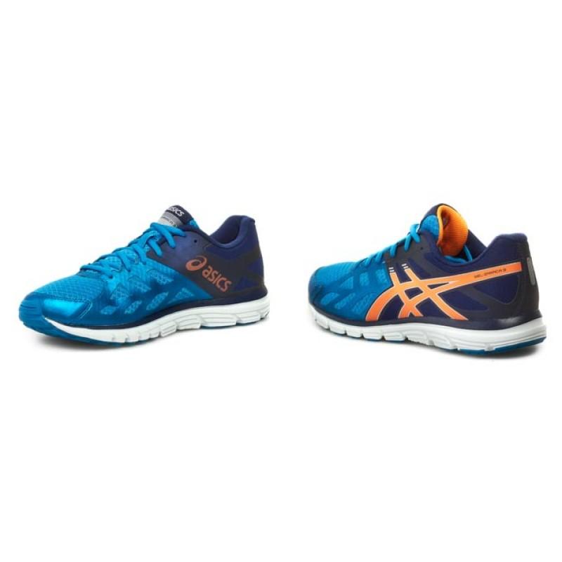 asics gel zaraca 3 mens running shoes blue/orange