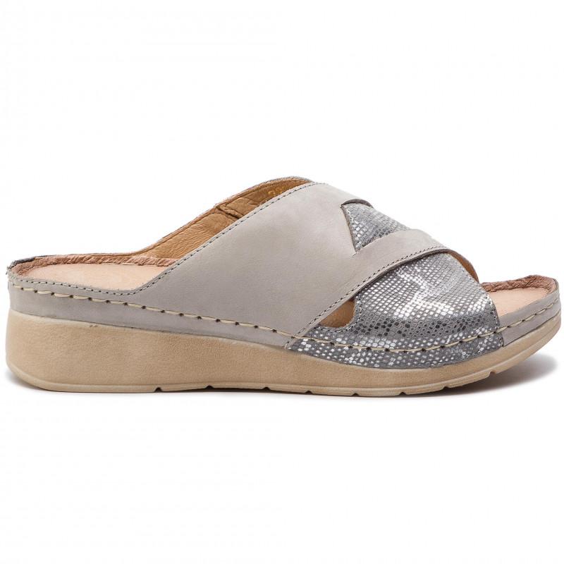 Slides WALDI - 0721 Jasny Szary/Srebro - Wedges - Mules and sandals - Women's shoes