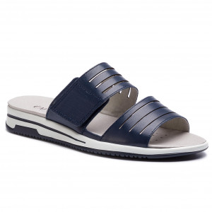 00f59fbcb6cc Slides TORY BURCH - Logan Embellished Slide 46713 Perfect Navy Gray ...