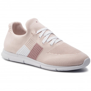 07a603096 Sneakers TOMMY HILFIGER - Knitted Flag Light Sneaker FW0FW04144 Silver  Peony 658