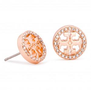 50b9c84af28d65 Earrings TORY BURCH - Crystal Logo Circle-Stud Earring 53422 Rose  Gold Crystal 696