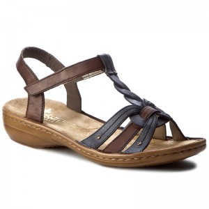 Sandals RIEKER 60838 12 Brown Combination Casual sandals Cx0FY