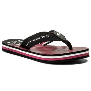 Tommy Hilfiger Essential Beach Sandal Mens Navy Red Textile Beach Sandals