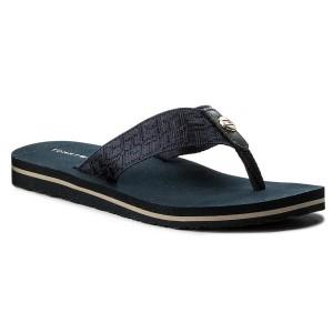 0d077a0852129 Slides TOMMY HILFIGER Jacquard Low Beach Sandal FW0FW02382 Midnight 403