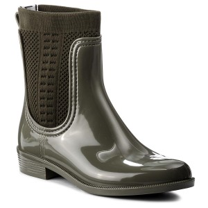 839895825 Wellingtons TOMMY HILFIGER - Tommy Knit Rain Boot FW0FW02940 Dusty Olive 011