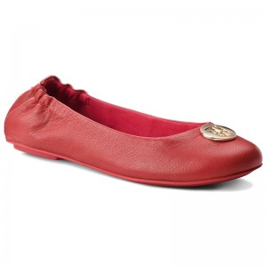 Ballerinas TOMMY HILFIGER - Flexible Ballerina Leather FW0FW03401 Tommy Red 645