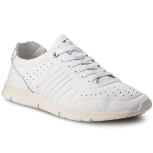 9e2fc52b0ca821 Sneakers TOMMY HILFIGER Unlined Th Light Leather Runner FM0FM01630 White 100