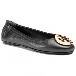 10fe00f5b20 Flats TORY BURCH Minnie Travel Ballet With Metal Logo 50393 Perfect  Black Gold 013