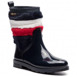 9a4561bfe0317 Wellingtons TOMMY HILFIGER - Corporate Faux Fur Rain Boot FW0FW03616 Midnight  403