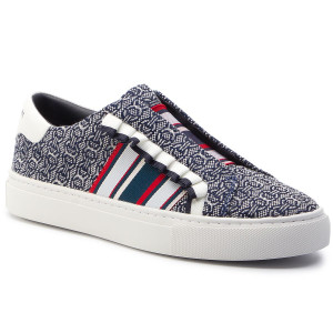 e4096eadc1 Plimsolls TORY BURCH Slip On Ruffle Sneaker 55697 Navy Gemini Link  Jacquard/Snow White 432