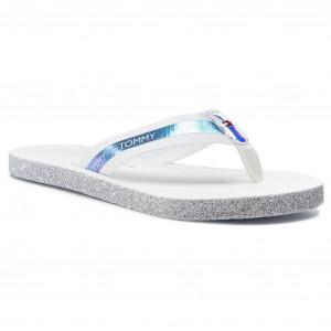 d5da2bba63845 Slides TOMMY HILFIGER Flat Beach Sandal Iridescent FW0FW04016 White 100