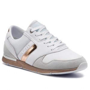 bc77db1654c6d Sneakers TOMMY HILFIGER - Iridescent Light Sneaker FW0FW04100  White/Rosegold 901