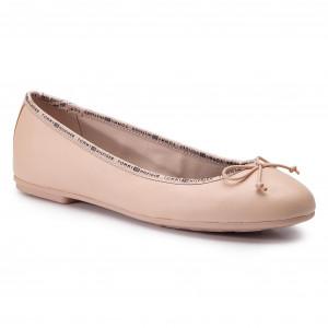 255fb42ac Flats TOMMY HILFIGER - Leather Ballerina Tommy Branding FW0FW04439 Cream  Tan 904
