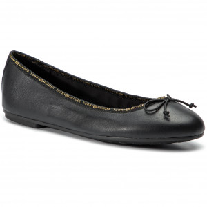 66824d446 Flats TOMMY HILFIGER - Leather allerina Tommy Branding FW0FW04439 Black 990