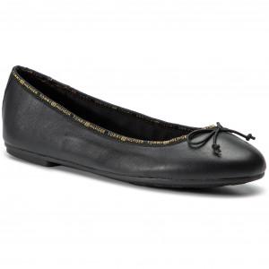 e2f72d2f8 Flats TOMMY HILFIGER - Leather Ballerina Tommy Branding FW0FW04439 Black 990