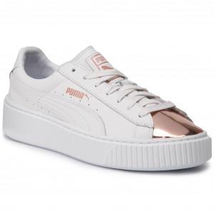 puma platform bianche e rosa