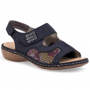 Sandals RIEKER 60838 12 Brown Combination Casual sandals