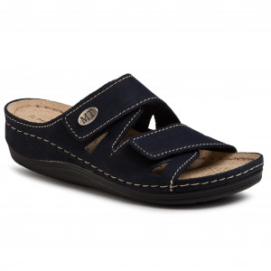 New Womens Marco Tozzi Navy 27512 Leather Sandals Slides