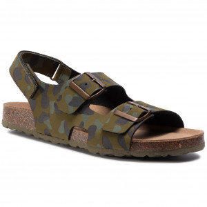 Rieker Cross over Sandal BlackGrey Animal Print Sandals