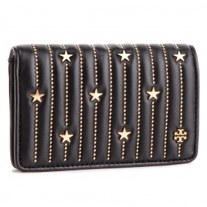 d16e922c5e23 Large Women s Wallet TORY BURCH Star Stud Slim Medium Wallet 52202 Black 001