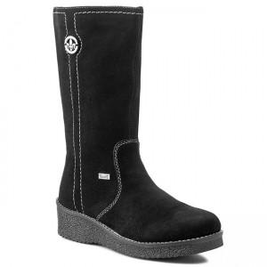 Rieker Brown Wool Lined Knee High Boots with Fleece Collar