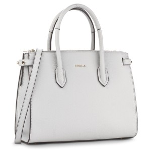 Woman handbag Furla Pin S Tote gray leather shoulder bag cristallo new 924572
