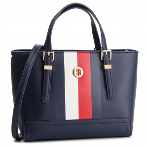46a67121ab4 Handbag TOMMY HILFIGER - Iconic Tommy Tote AW0AW06446 901 - Canvas ...