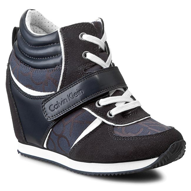 Sneakers CALVIN KLEIN JEANS - Viridiana RE9264 Blue/Blue - Wedge-heeled - shoes - Low shoes - Wedge-heeled Women's shoes 117ceb
