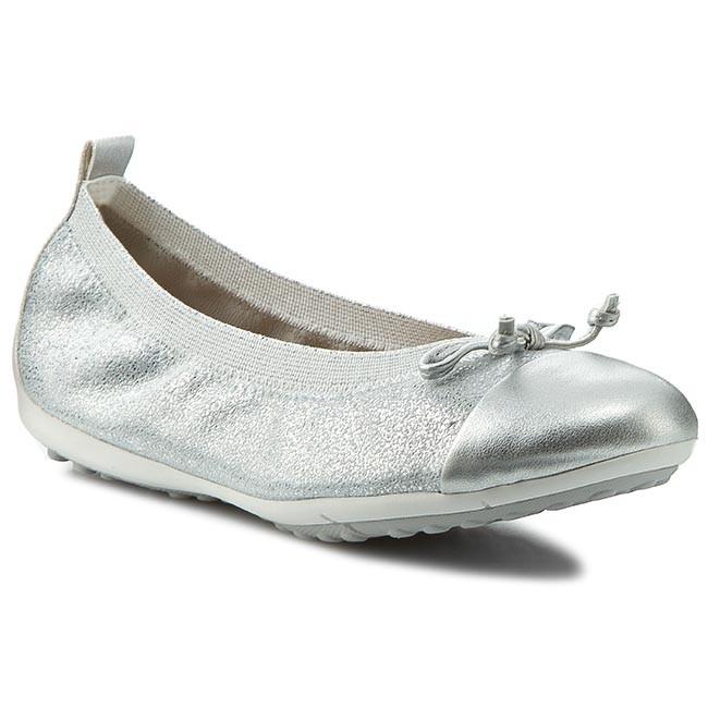 Flats Ball GEOX - J Piuma Ball Flats D J42B0D 000TC C1007 Silver - Slided shoes - Low shoes - Girl - Kids' shoes 76773c