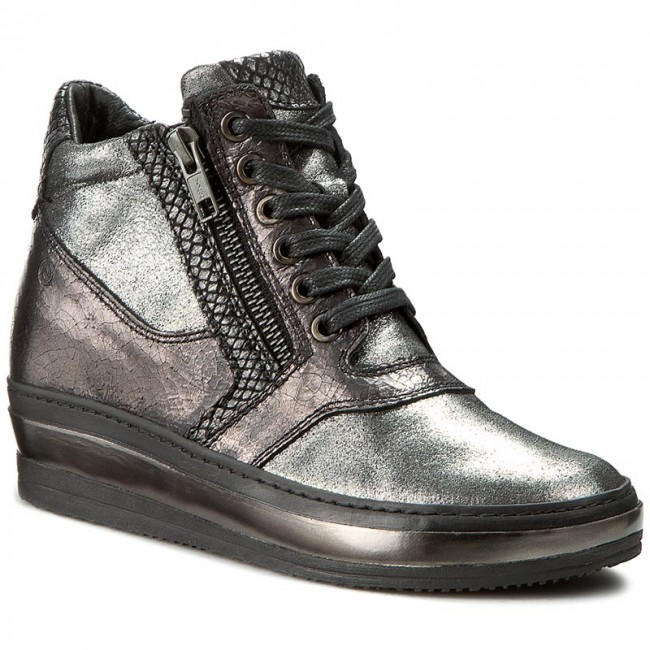 Sneakers KHRIO - 162K4001ESALQ Silver/Acciaio/Nero - Wedge-heeled - shoes - Low shoes - Wedge-heeled Women's shoes f59bd4
