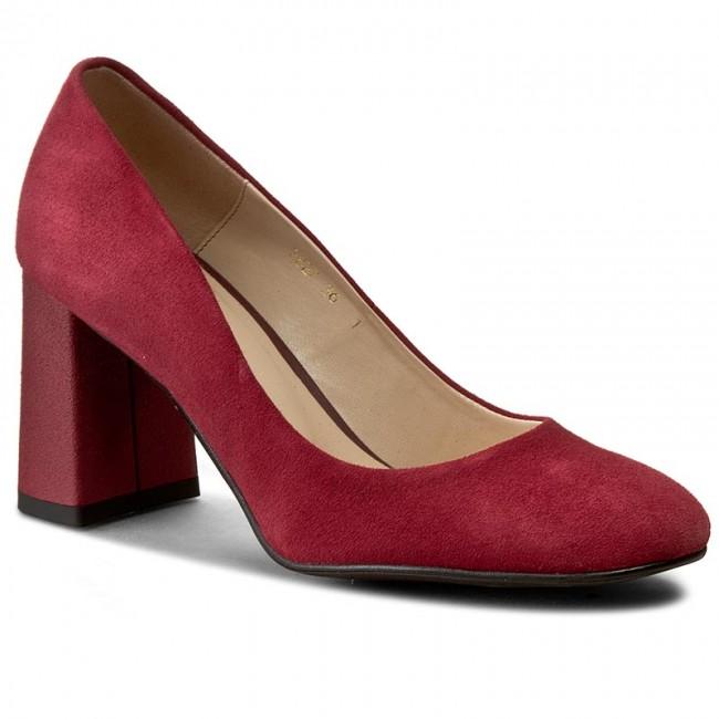 Shoes SAGAN - 2827 Bordowy Welur shoes - Heels - Low shoes Welur - Women's shoes b65468