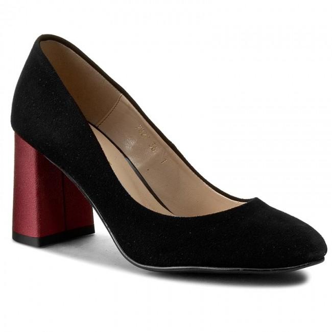 Shoes SAGAN - - 2827 Czarny Welur/Bordowy - SAGAN Heels - Low shoes - Women's shoes 61cc95